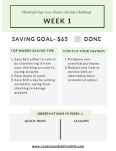 Week 1 money saving challenge