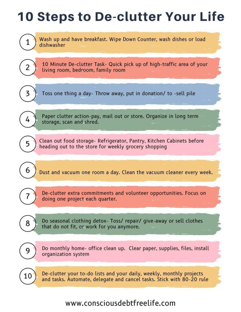10 steps to de-clutter