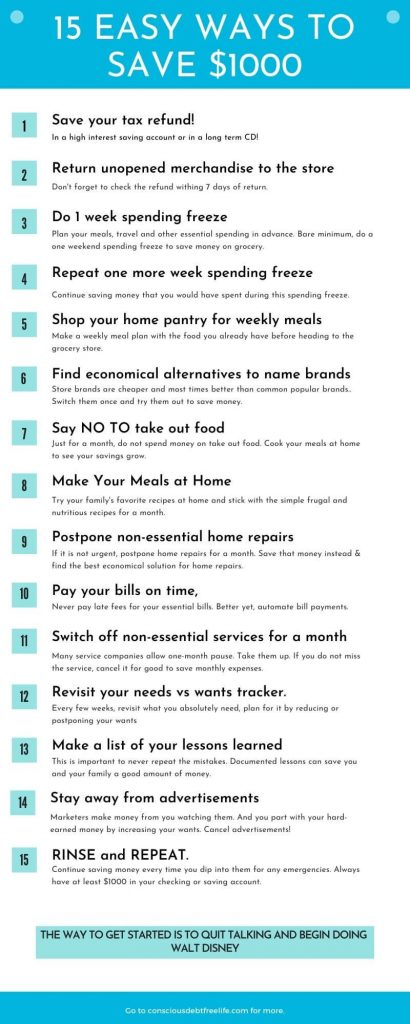 15 easy ways to save $1000 fast