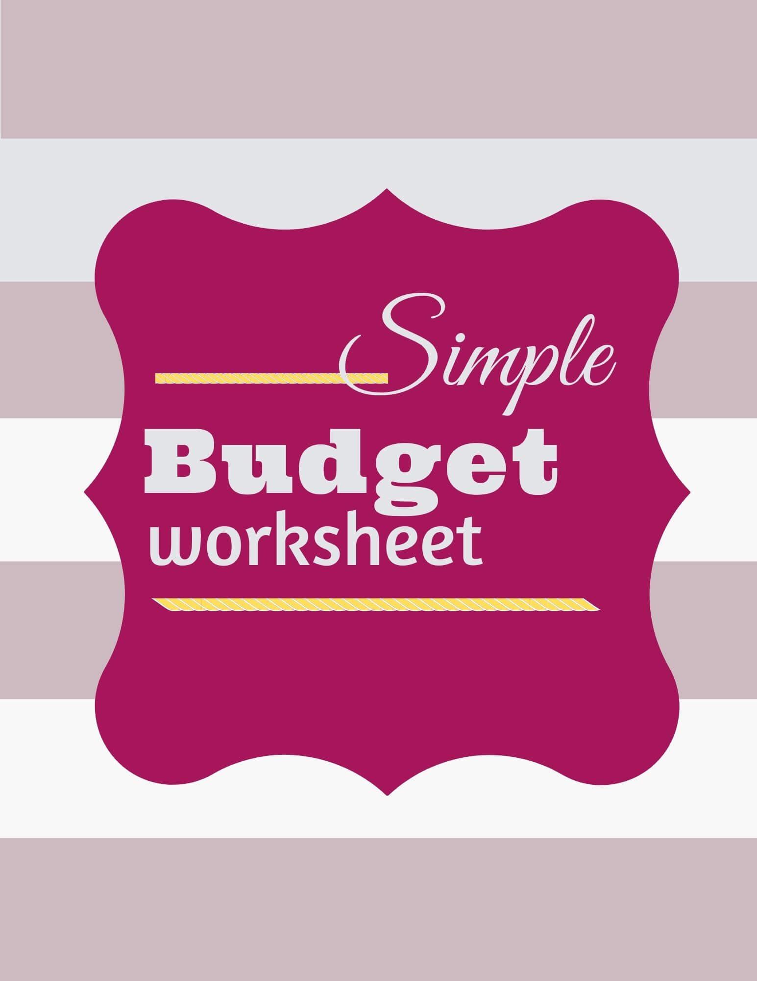 502030 Simple budget worksheet