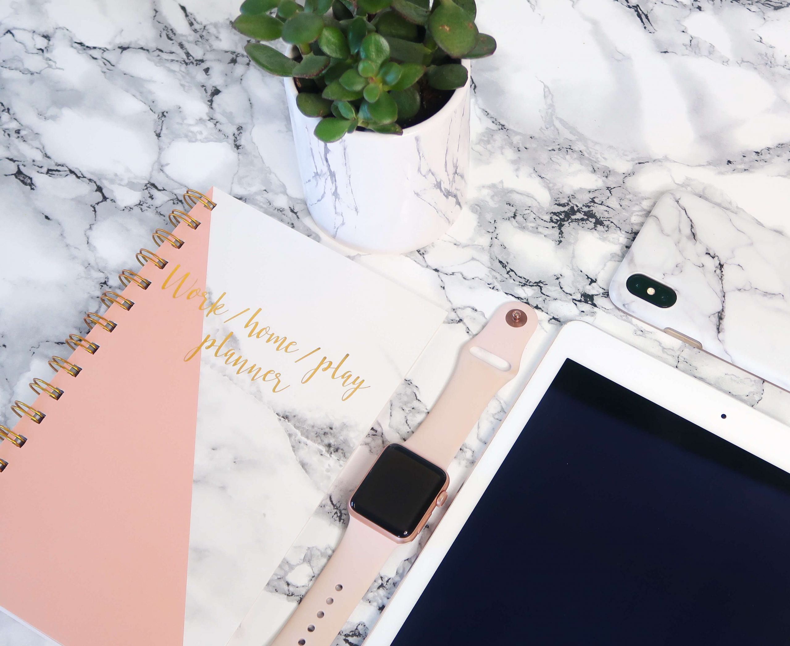 Ipad, Smart phone, planner and plant